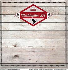 Scrapbook Customs - Washington DC Wood Sightseeing Scrapbooking Paper - 37379