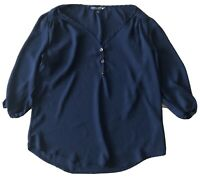 Women's Living Doll Boho Navy Blue Blouse Top Shirt Size Small S