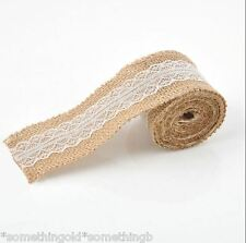 2 metres of lace & hessian- wedding, Jars, Jute Burlap, Table Decoration