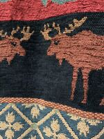 Coldwater Creek Chenille Moose Woods Mountain Lodge Tapestry Vest Size M EUC