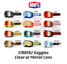 100% STRATA 2 Goggles - Offroad MX Motocross - CLEAR or MIRROR LENS Goggles