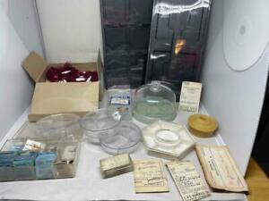 LOT ASSORTED WATCHMAKERS MOVEMENT HOLDERS TRAY STORAGE PARTS BULOVA PARTS TAGS