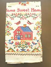 New listing Vtg Print Tea Dish Towel Home Sweet Home House Trees Flowers