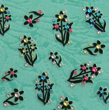 Nail Art 3D Sticker Color Crystal Decal Black Flower with leaf 42 pcs/sheet