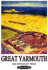 Art Ad  Great Yarmouth British Railways  Train Rail Travel  Poster Print