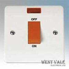 Click Mode CMA201 White Moulded 45a Cooker Double Pole Switch & Neon New