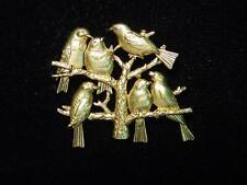 """""""JJ"""" Jonette Jewelry Antique Gold Pewter 'Birds in a Tree' Pin"""