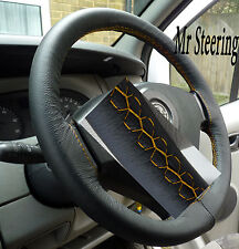 FITS VAUXHALL OPEL VIVARO VAN BLACK LEATHER STEERING WHEEL COVER 01-13 YELLOW ST