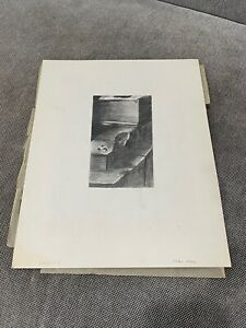 Vintage Carol Lasky Signed Pencil Drawing of Architecture Architectural Element