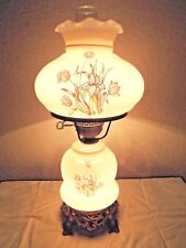 GONE WITH THE WIND VINTAGE 3-WAY GLAZED MILK-GLASS FLORAL DISPLAY HURRICANE LAMP