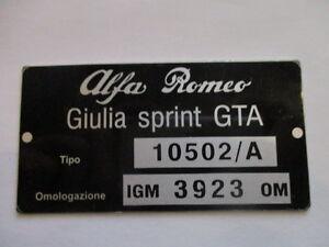 Alfa Romeo Id Nameplate 10502/A Bertone Giulia Sprint Gta s40