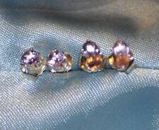 TWO PAIRS OF 5MM X 3MM OVAL AND 3MM  ROUND AMETHYST- .925 STERLING SILVER STUDS