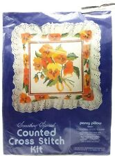 Counted Cross Stitch Orange Pansy Pillow Kit New Vintage 1981