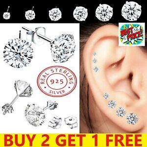 925 Sterling Silver Cubic Zirconia Stud Earrings Small Set Pack Women Woman Girl