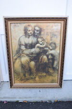 + Nice Older Framed Picture of The 2 Mary's, Christ Child & S.J.B. + chalice co.