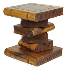 "Small 12"" Wooden Stacked Book Table Side Table Lamp Plant Stand. Brown"