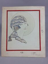 vintage hand drawing advertising copy Lady with scarf 1900's