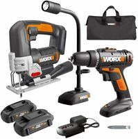 WORX WX958L 20V LI 3pc Combo w/ Drill, JigSaw and Flex (Snake) Light