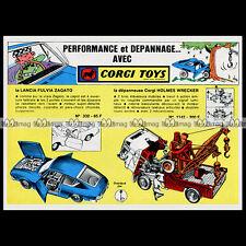 CORGI TOYS 1967 HOLMES WRECKER 1142 FULVIA ZAGATO 332 Pub / Publicité / Ad #B226