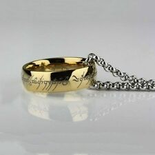 Lord of the Rings Gollum Gold One Ring Necklace 18ct 18k gold plated Pendant ED