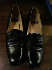 nine west black leather vintage loafers worn very few times.low heal.