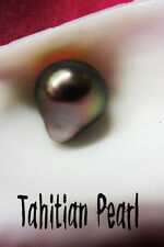 Tahiti Genuine Natural 12mm Baroque Tahitian Pearl HLFdrill #MR5519B