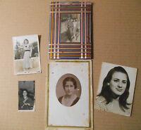 Lote fotos antiguas, cinco retratos fotográficos, señoras retratadas