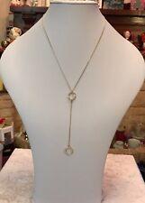 """Gold Tone 20"""" Sparkly Diamanté Circles Lariat Necklace (A291)"""