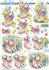 Feuille 3D à découper A4 - 8215.725 Bottes Fleuries - Decoupage Sheet Flowers