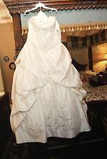 Maggie Sottero Wedding Dress Monalisa Royale Satin Ivory Corset Beads Sz 14