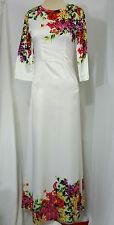 Long Sleeve Satin Maxi Dress, Small, White Floral, Formal, Modest