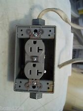 HUBBELL 20A 125V DOUBLE 3 PRONG GROUNDED RECEPTACLE OUTLET IN METAL BOX WIRED