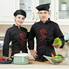 Men Lady Chinese Dragon Hotel Chef Apparel Uniform Jacket Coat Food Service Tops