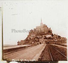 Mont Saint-Michel France Photo H22 Plaque de verre Stereo Vintage