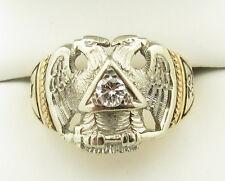 Vtg 14k Yellow White Gold Diamond 32nd Degree Masonic Enamel Eagle Ring -11.5g-