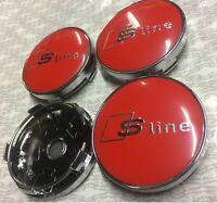 SLINE RED Audi Alloy Wheel Centre Caps x4 60mm 4B0601170 A 1 2 3 4 5 6 7 Q RS