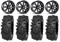 "MSA Black Kore 14"" ATV Wheels 32"" Mudda Inlaw Tires Sportsman RZR Ranger"