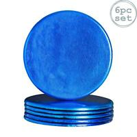 Round Drinks Coasters Drinking Dining Mat Coaster in Blue - 100mm - x6