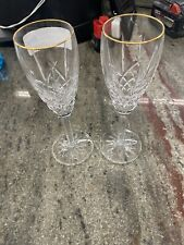 Set 2 Waterford Cut Glass Crystal Araglin Champagne Flutes Pair 8 1/2""