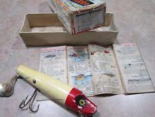 Vintage Heddon Husky Flaptail Wood Lure W/Box And Catalog 7040Rh