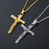 Women Men Stainless Steel Christ Jesus Cross Crucifix Pendant Necklace Chain