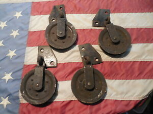 4 Vintage Heavy Duty Steel Barn Door Hanging Rollers
