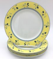 """Royal Doulton Blueberry Yellow Four 7.5"""" Salad Plates Very Nice Condition"""