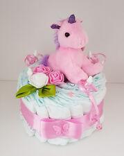 Windeltorte rosa, Mädchen, Geschenk zum Geburt, Taufe, Baby Party, Pampers Gr.3