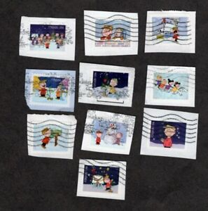 #5021-30 Charlie Brown X-mas, Used Set of 10 Forever (49 cent), On Paper