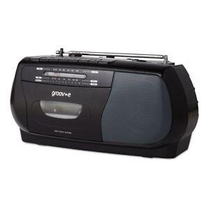 Groov-e Retro Series Portable Cassette Player/Recorder With Radio - Black