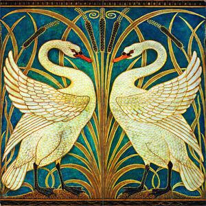 Walter Crane Swans colour Ceramic or Porcelain 4 Tile Mural Backsplash Kitchen