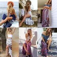 Women Boho Bohemian High Waist Summer Beach Long Maxi Dress Floral Split Skirt