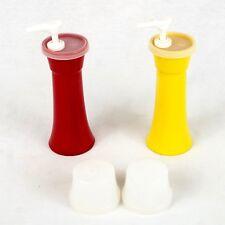 Tupperware Ketchup and Mustard Set Plastic Pump Dispenser Set with Caps