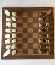 Vintage Chess Set Wooden Board Marble Onyx Aztec Pieces